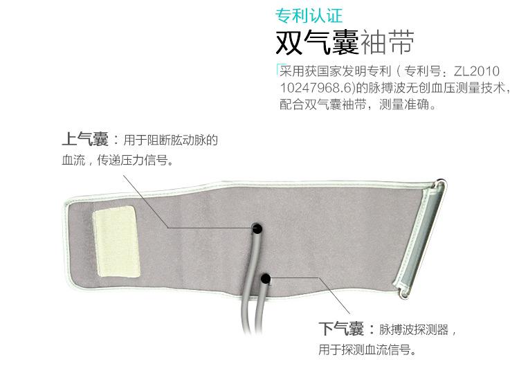 瑞光康泰raycome  脉搏波血压计RBP-6100_专利认证 双气囊袖带亮点图_贝登医疗.jpg