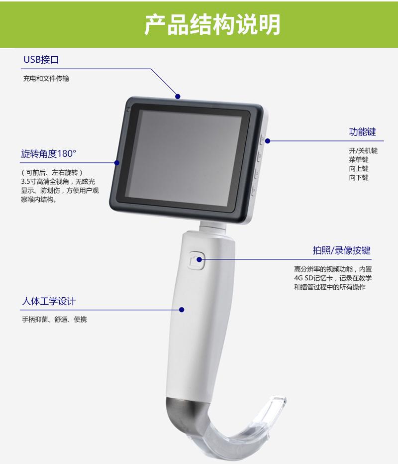 宏济医疗重复性适用麻醉视频喉镜VL3R产品结构说明