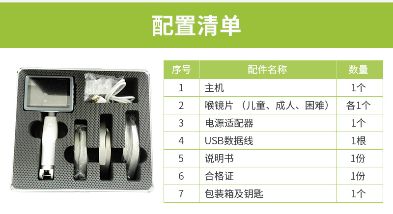 宏济医疗重复性使用麻醉视频喉镜VL3R配置清单