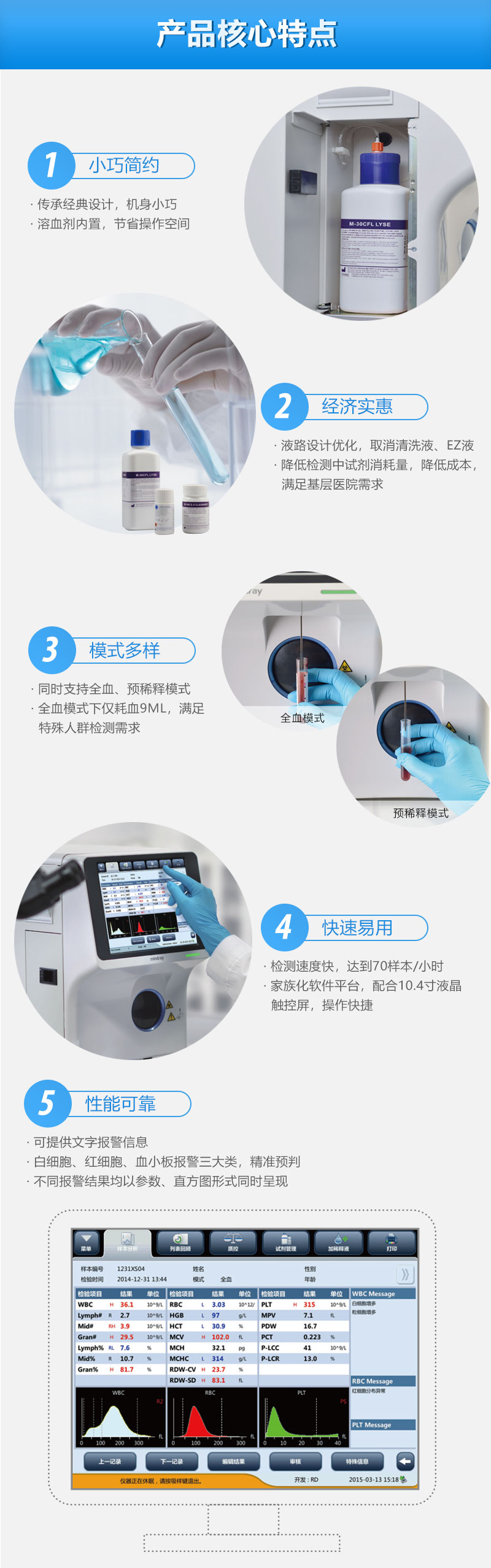 迈瑞全自动三分群血液细胞分析仪BC-30S核心特点,小巧简约,经济实惠,模式多样,快速易用,性能可靠