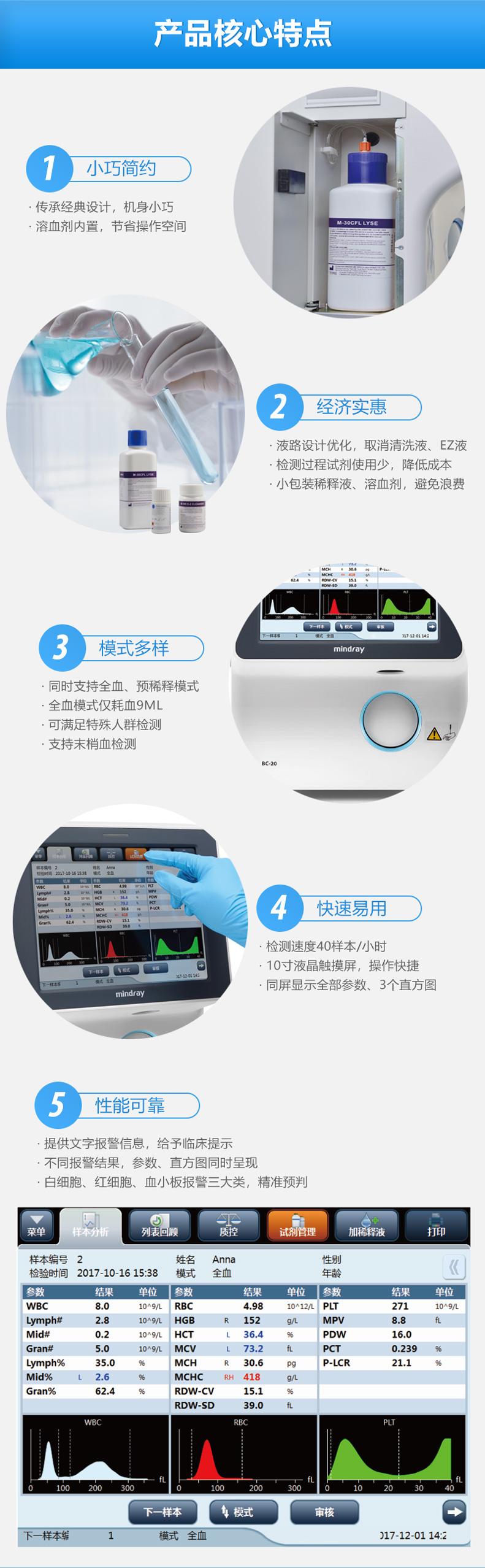 迈瑞Mindray 三分类血液细胞分析仪BC-20小巧简约,经济实惠,模式多样,快速易用,性能可靠