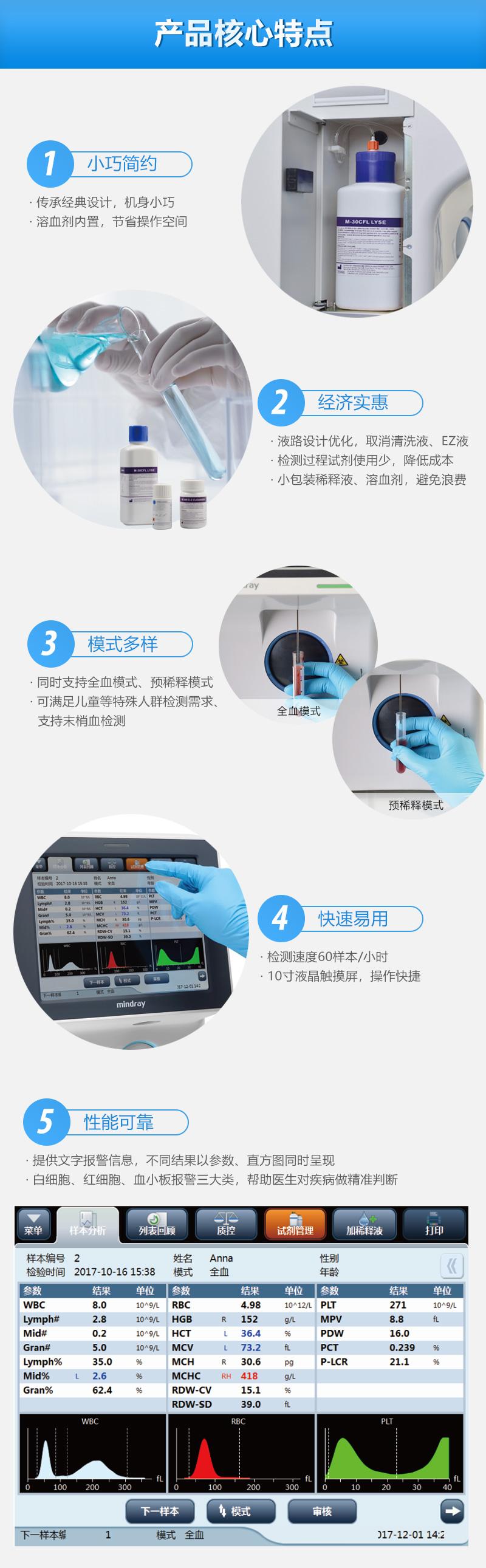 迈瑞Mindray全自动血液细胞分析仪BC-30小巧简约,经济实惠,模式多样,快速易用