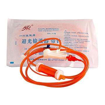 洪达 一次性使用避光输液器 带针P-P  塑钢针0.7mm (320支/箱)