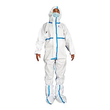 振德 医用一次性防护服 S号 带帽防护服 含靴套(50件/箱)