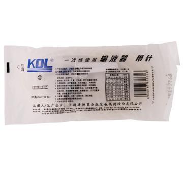 康德莱KDL 输液器 单翼 塑针 全塑 0.7mm (25套/包 16包/件)