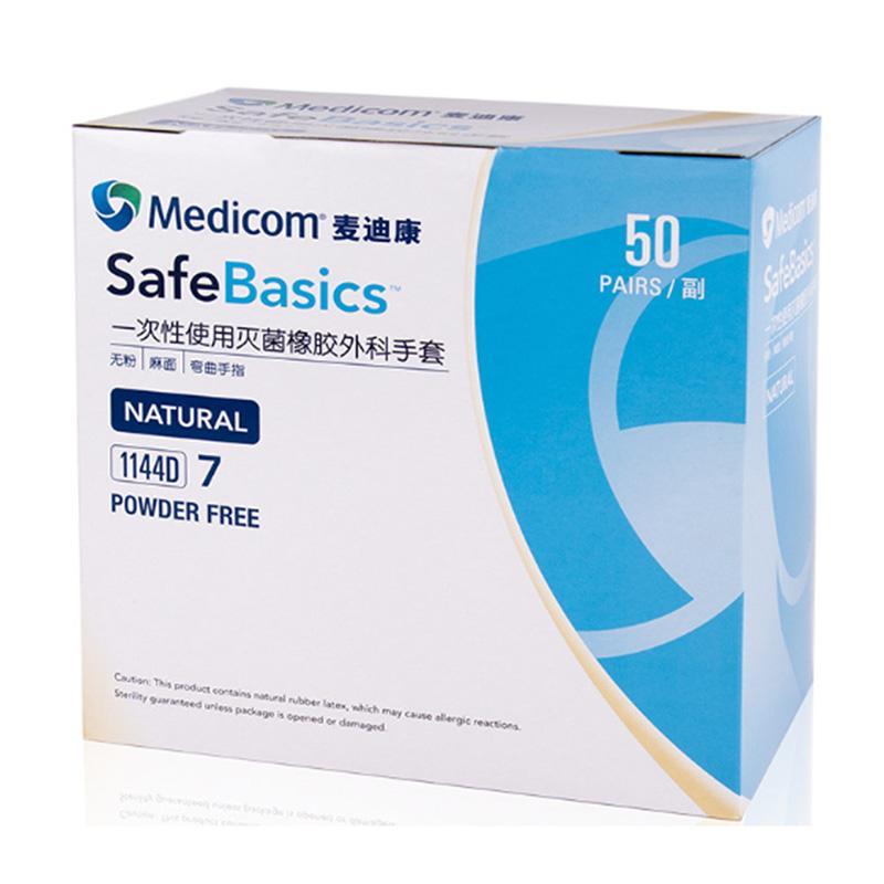 Medicom麦迪康 医用外科手套 6.5号 1144C 无粉 橡胶 (50双/盒)